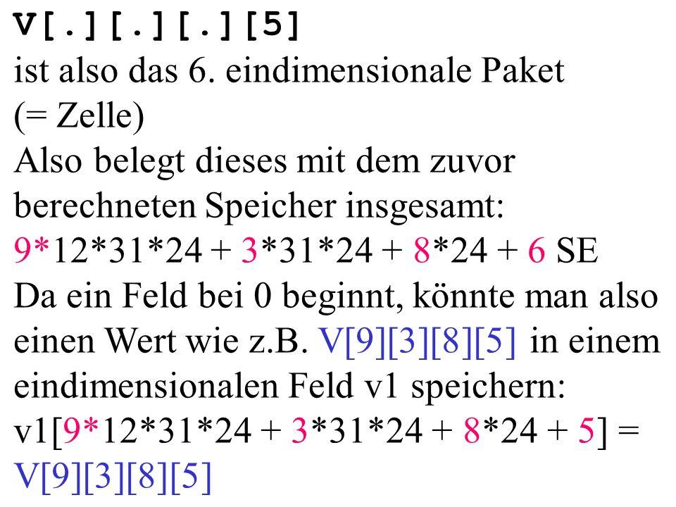 V[.][.][.][5] ist also das 6. eindimensionale Paket (= Zelle)